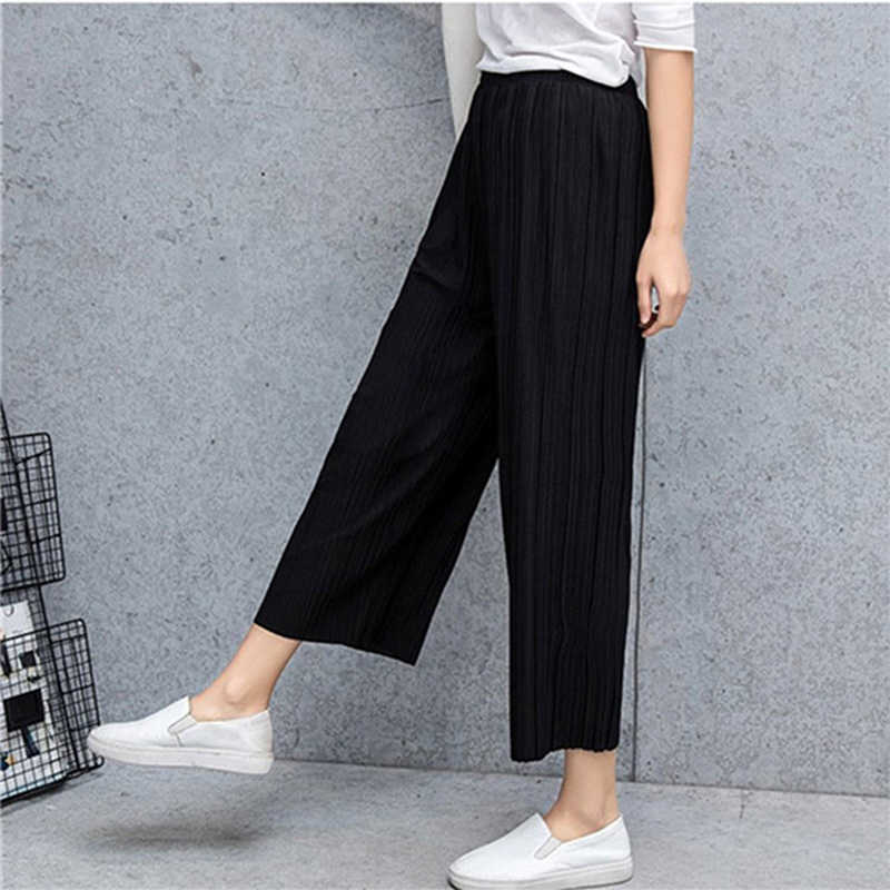 Pant Pleated Chiffon Wide Leg Pants Female Summer  New Korean Version Of Calf-Length Pants High Waist Loose MM Pants