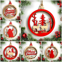 Deers Santa Claus Snowman Wooden Seasons Greetings Hanging Ornaments For Christmas Tree DIY Outdoor Home Party Decor Accessories