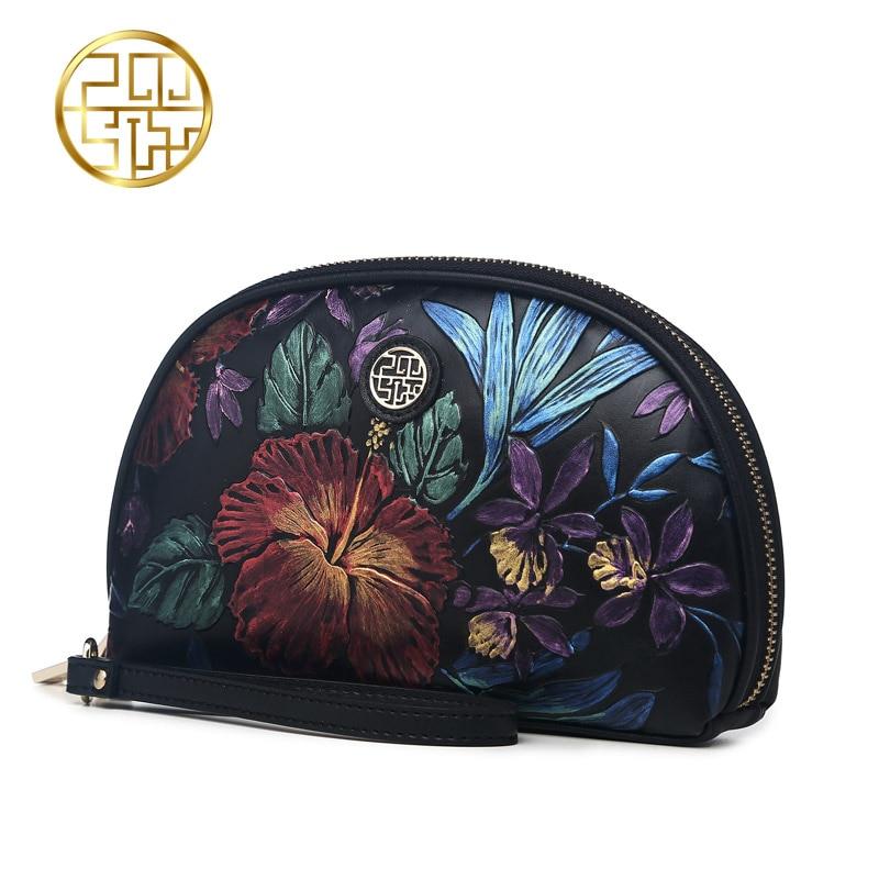 Pmsix 2017 New Luxury Brand Women Clutch Bag  Genuine Leather Embossing Black Clutch Purse Vintage Women Evening Bags P510005