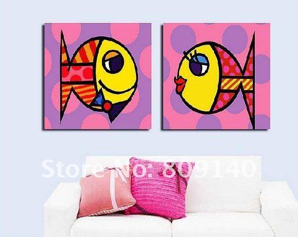 Free shipping cartoon cute fish oil painting for kids for Oil painting for kids
