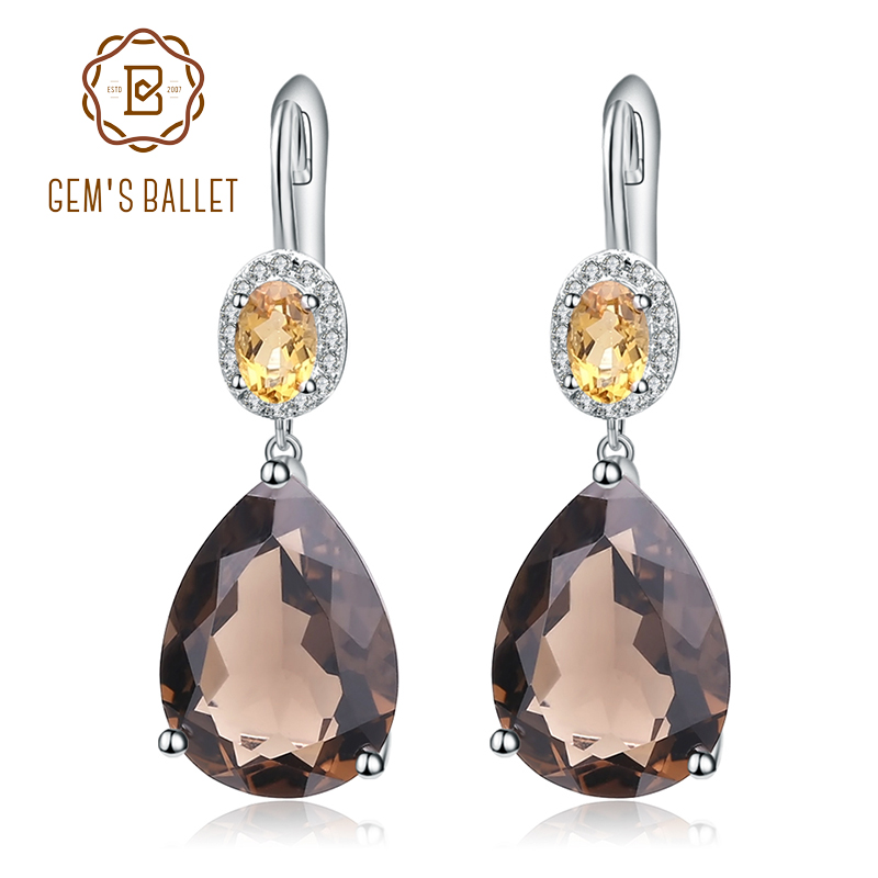 Gem s Ballet 10 44Ct Natural Smoky Quartz Yellow Citrine Earrings 925 Sterling Silver Drop Earrings