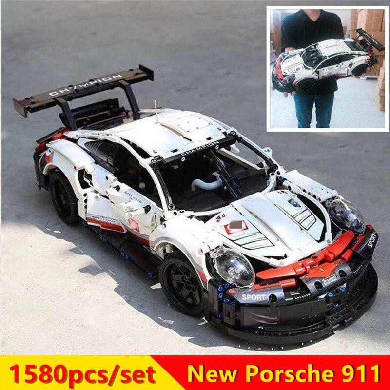 New 1580pcs Technic series White Super Racing Car fit technic city Model kits Building Blocks Bricks