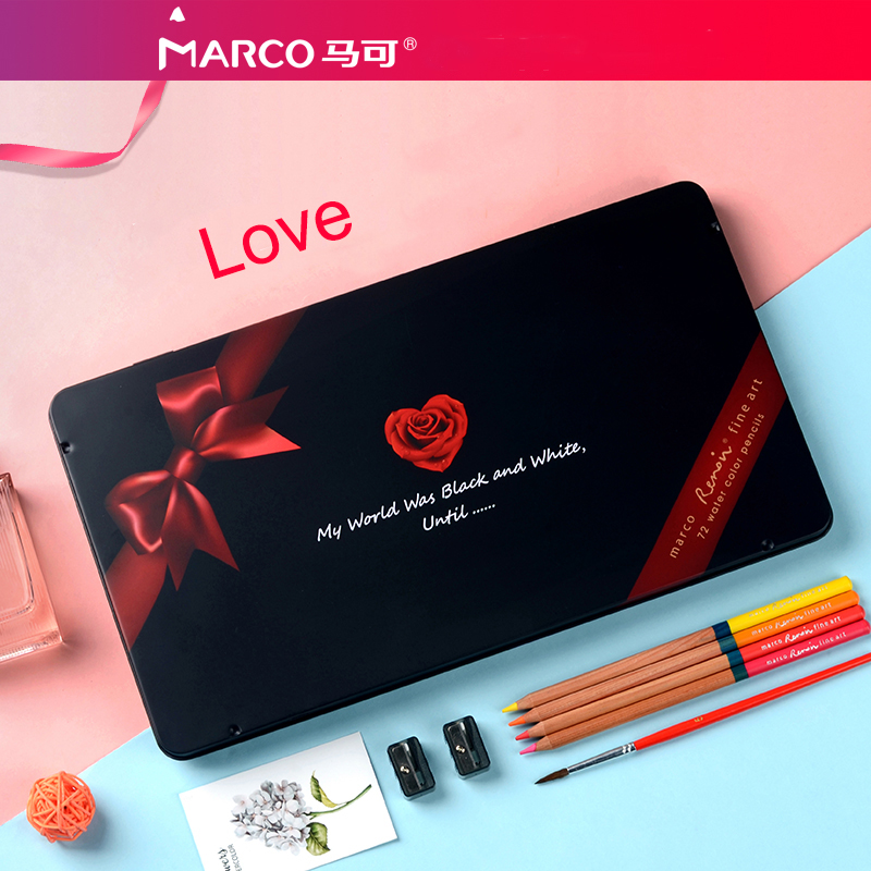 Marco Art Design Renoir Water soluble 72 Color Pencil Love Gift Boxed 520 Send Girlfriend Gift Valentine Gift 520 gift to send his girlfriend boyfriend wife girlfriends birthday girls creative and practical small gifts valentine children
