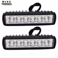 2Pcs 18W 12V LED Work Light Bar Spotlight Flood Fog Lamp Driving Offroad LED DRL Work