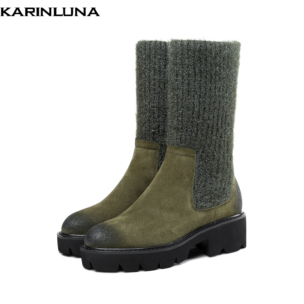 KARINLUNA HOT SALE 2019 COW SUEDE LEATHER KNITTING CHUNKY HEELS WOMENS BOOTS SHOES WOMAN FASHION SHOES WOMAN BOOTSKARINLUNA HOT SALE 2019 COW SUEDE LEATHER KNITTING CHUNKY HEELS WOMENS BOOTS SHOES WOMAN FASHION SHOES WOMAN BOOTS