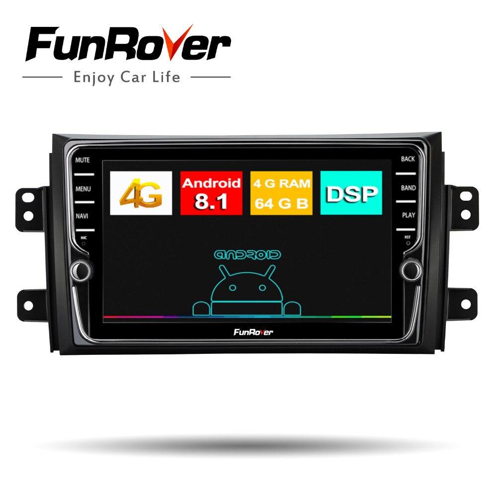 Lecteur multimédia Funrover octa 8 core autoradio Android8.1 pour Suzuki SX4 2006-2013 voiture dvd navigation gps stéréo écran partagé
