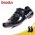 Boodun/Обувь для велоспорта из углеродного волокна; Ультралегкая обувь из ТПУ с противоскользящим носком; обувь для верховой езды; Мужская чер...