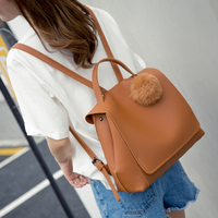 Female Soft PU Leather Backpacks college style simple retro female backpack Japan style Composite Bag