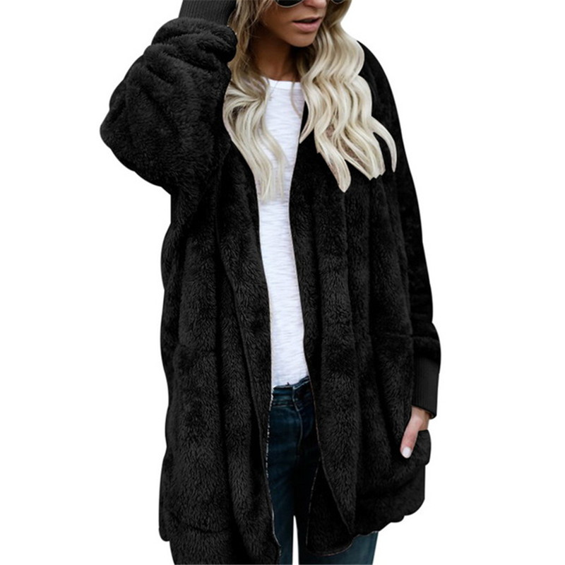 Women's Autumn And Winter Faux Fur Teddy Bear Hooded Sweatshirt Women's Fashion Open Knit Hooded Shirt  Long-sleeved Fuzzy Coat