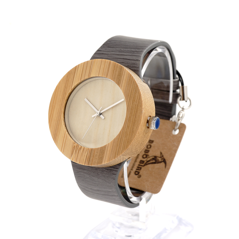 2017 Brand BOBO BIRD Handmade Gifts Men Watches Wood Watchs Genuine Leather Strap Wristwatches Wooden Watches C-H10