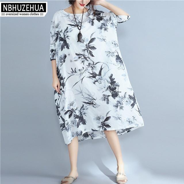 09834f1a54d6 US $15.6 50% OFF|4XL 5XL 6XL Kleider Frauen Herbst Ethnischen Stil Floral  Bedruckte Off White Elegantes Langes Kleid Plus Größe Frauen Kleidung ...