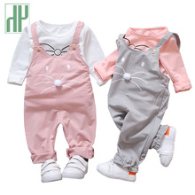 HH Little Girls clothing set Cat tops+bib pants sport suit kids clothes girls Casual children girl baby clothing toddler outfits sale toddler girls clothing set 2018 autumn new fashion sports suit outfits baby girls clothes lace white blouses shirts pants