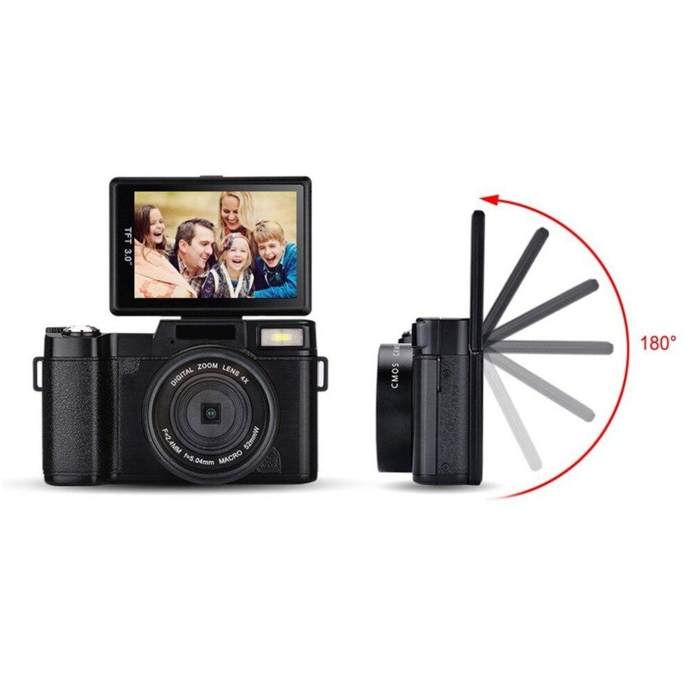 Professionnel 3.0 pouces LCD affichage 1080 P vidéo appareil photo numérique 4X Zoom 24MP écran rotatif Selfie appareil photo numérique fotografica