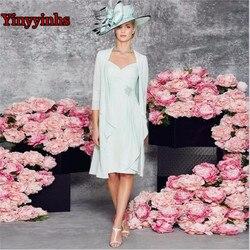 Zwei Stück Knie Länge 2020 Mutter Der Braut Kleider Mantel 3/4 Ärmeln Chiffon Spitze Kurze Prom Party Mutter Kleid für Hochzeit