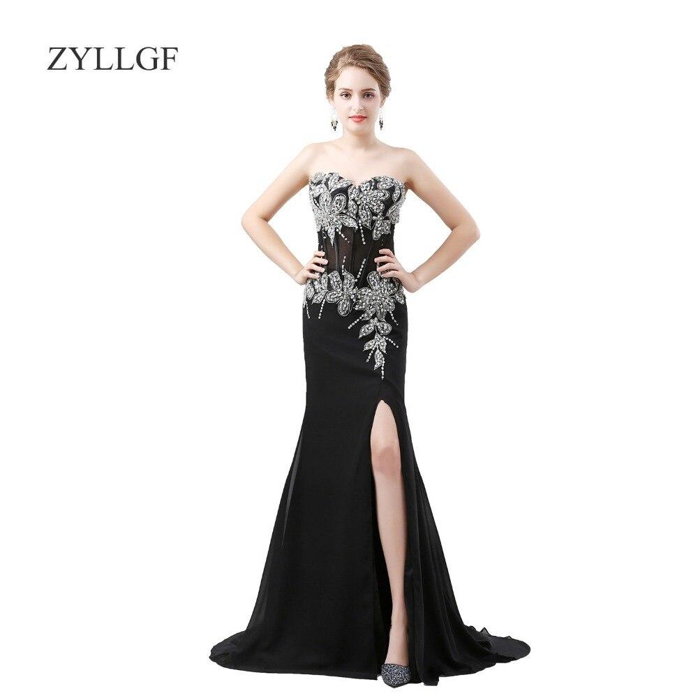 ZYLLGF Sexy noir mère de mariée robe sirène chérie longue broderie perlée haute fente mère robes MF01