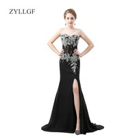 ZYLLGF Sexy Black Mother Of Bride Dress Mermaid Sweetheart Long Embroidery Beaded High Slit Mother Dresses