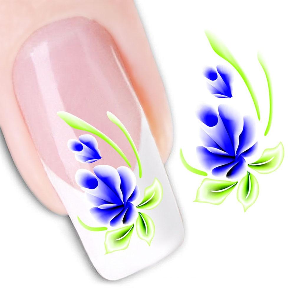 1 Foglio!!! Fiore Water Transfer Nail Art Stickers Nail Decoration Strumenti Manicure Fai Da Te Adesivi Per Unghie Unghia Accessori Decalcomania