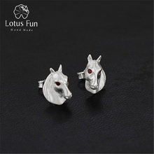 Lotus Fun Real 925 Sterling Silver Natural Creative Handmade Fine Jewelry Going My Way Horse Stud Earrings for Women Brincos