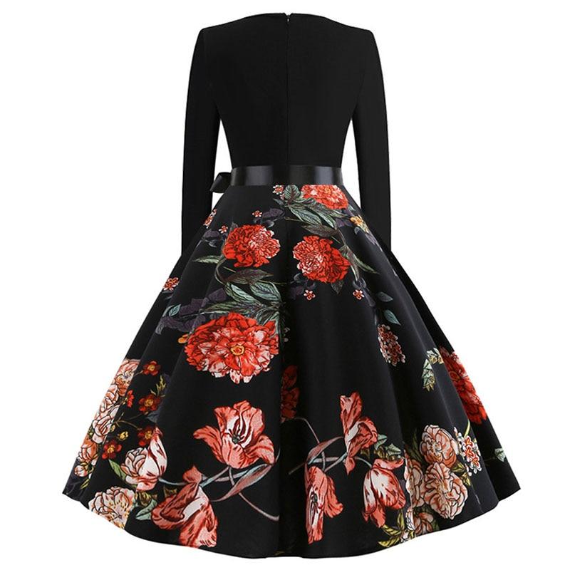 Plaid Print Vintage Dress Women 19 Christmas Casual Robe Femme Plus Size Dress Elegant Party Dresses Long Sleeve Vestidos 57