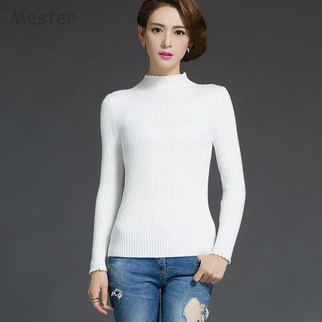 Autumn Winter Half Turtleneck Sweater Women Ruffled Neck Cuff Long ...