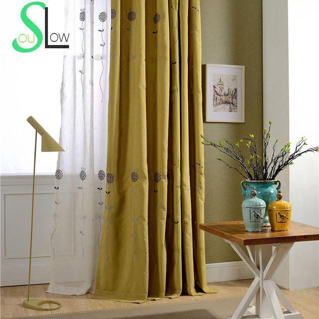 langsam seele blume baumwolle gelb grn vorhang franzsisch fenster pastoralen vorhnge fr wohnzimmer cortinas tll kche - Wohnzimmer Vorhang Grun