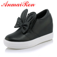 ANMAIRON Women Casual Shoes 2018 New Height Increasing Slip On Rubber Women Shoes Spring/ Autumn/Winter Platform Sweet Lovely