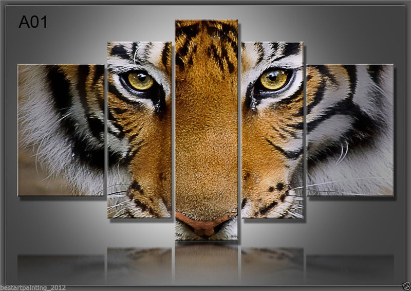 5 Panels Artwork Paintings Modern Canvas Prints Tiger Canvas Wall Art Painting Decor For Living Room Bedroom Home Decorations-in Painting & Calligraphy from Home & Garden    3