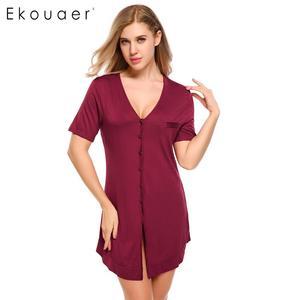 Image 2 - Ekouaer ชุดนอนสตรีเซ็กซี่สั้นแขนเสื้อปุ่ม Nightdress ชุดนอนชุดนอนหญิงชุดเสื้อผ้า