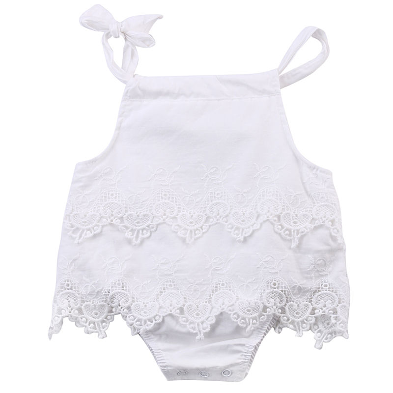 2016 Infant Baby Girl White Lace Dress Romper Cotton Sleeveless Jumpsuit Outfit Birthday Party Clothes newborn infant baby girl clothes strap lace floral romper jumpsuit outfit summer cotton backless one pieces outfit baby onesie