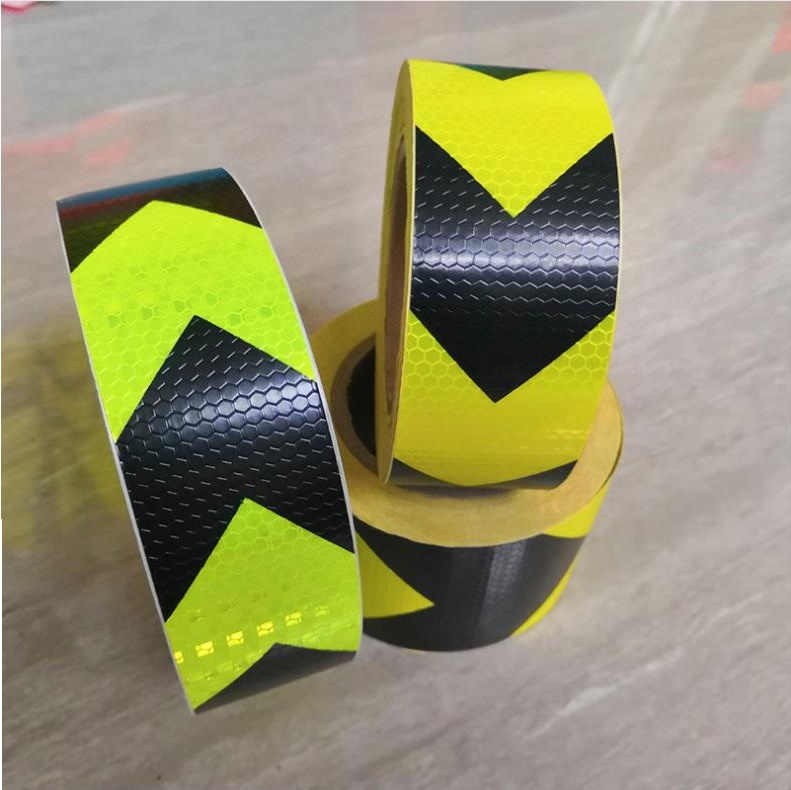 5CM Wide Road Traffic Construction Site Self-adhesive PVC Reflective Safety Tape Arrow/Twill Warning Sign 228M/lot