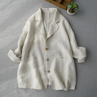 Spring Autumn Women All match Loose Plus Size Japanese Style Mori Girls Brief Comfortable Thin Linen Blazers Coats