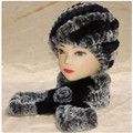 2 piece real fur hat and scarf set. women's warm winter soft natural rex rabbit cap,Handmade Knitted scarves best gift H233