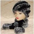 2 unidades real sombrero de piel y bufanda. de las mujeres calientes del invierno suave tapa de conejo rex natural, Hecho A Mano de Punto bufandas mejor regalo H233