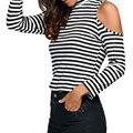 Tee Shirt Femme Turtleneck T Shirt Women New Fashion Off Shoulder Tops T-shirt Long Sleeve Tshirt Slim Sexy Women Clothes 2017