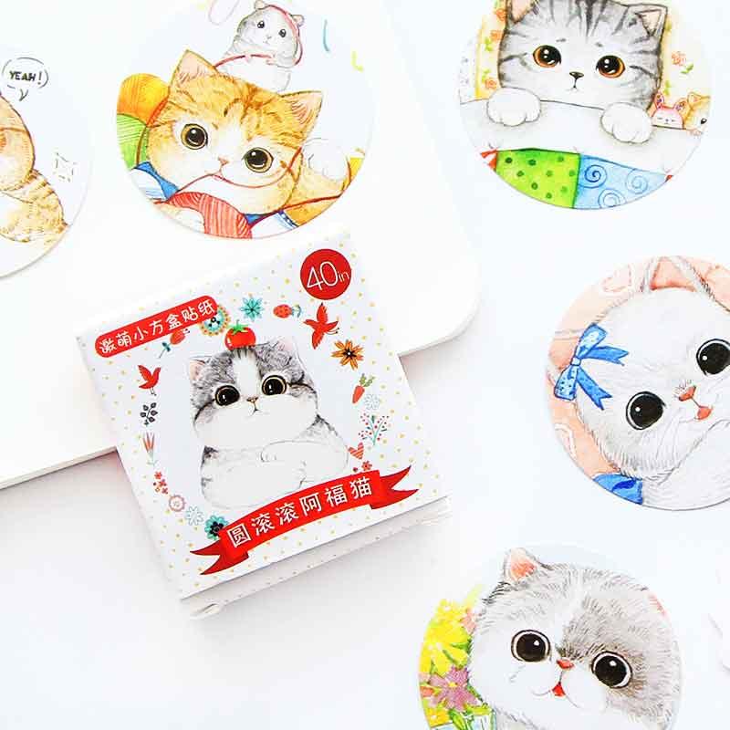 40 Pcs/box Cat DIY Post it Scrapbooking Diary Sticker Planner Decorations Album Stick Label School Kawaii Stationery Supplies