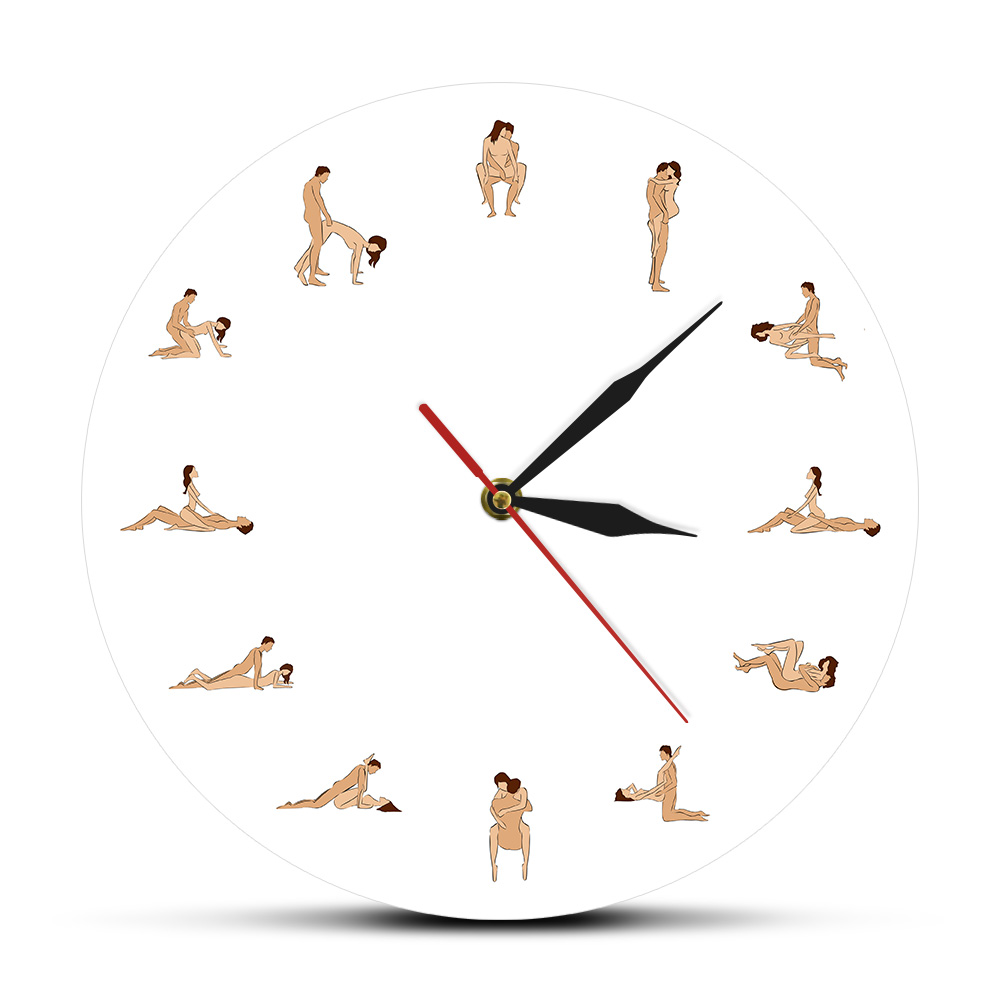 24hours Naughty Sex Positions Wall Clock Couple Lover Contemporary Silent Time Clock Sex Position Wall Watch Clock