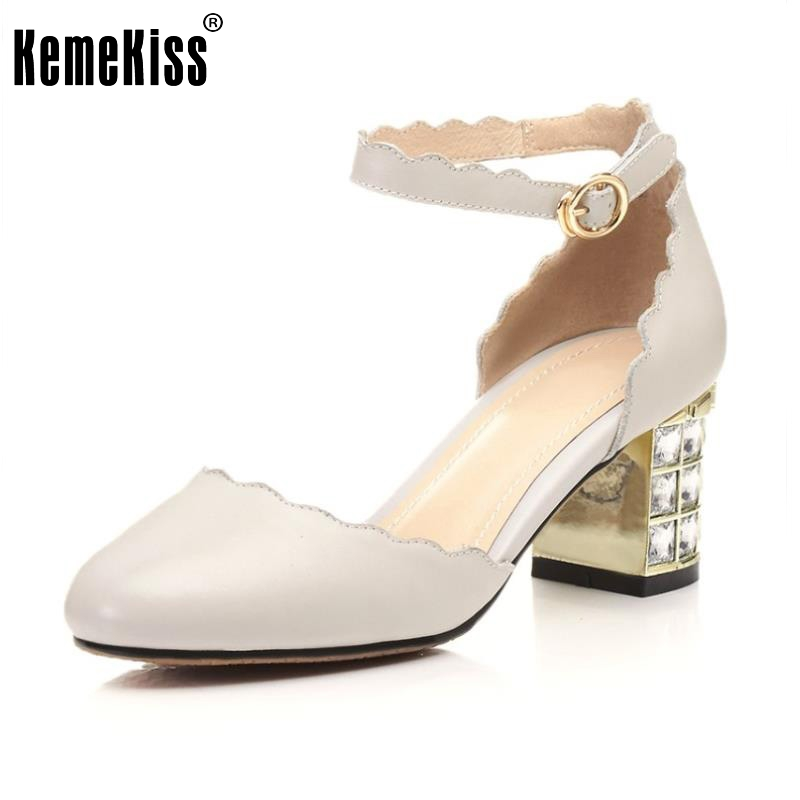 New Women High Heels Real Leather Shoes Women Ankle Strap Alien Heel Pumps Rhinestone Sweet Shoes New Design Footwear Size 33-39 new arrivals pale pink shiny leather kawaii rabbit ankle strap sweet lolita shoes 5 5cm heel pumps