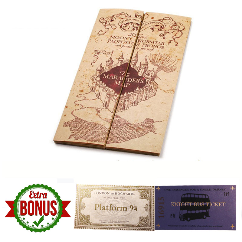 Harry Movie The Marauder's Map Mini Version Collectible Retro Parchment Maps Cosplay Props Gifts Toys Hp Fans Party