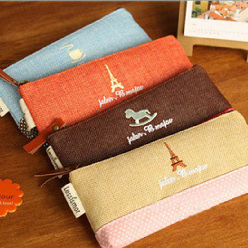 Vintage Creative Eiffel Tower Pencil Case School Pencil Cases For Girl Stationery Pencil Bag Escolar Office School Supplies