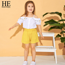 HE Hello Enjoy Baby Girls Clothes 2019 Summer Children Clothing Condole belt Off Shoulder Embroidery Floral Vest+Shorts Sets Kid