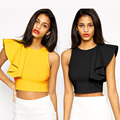 SEBOWEL Newest Fashion Ruffle Sleeve Women Tops Sexy Club Cropped Top O Neck Polyester Summer Short Tank Top Free Shipping
