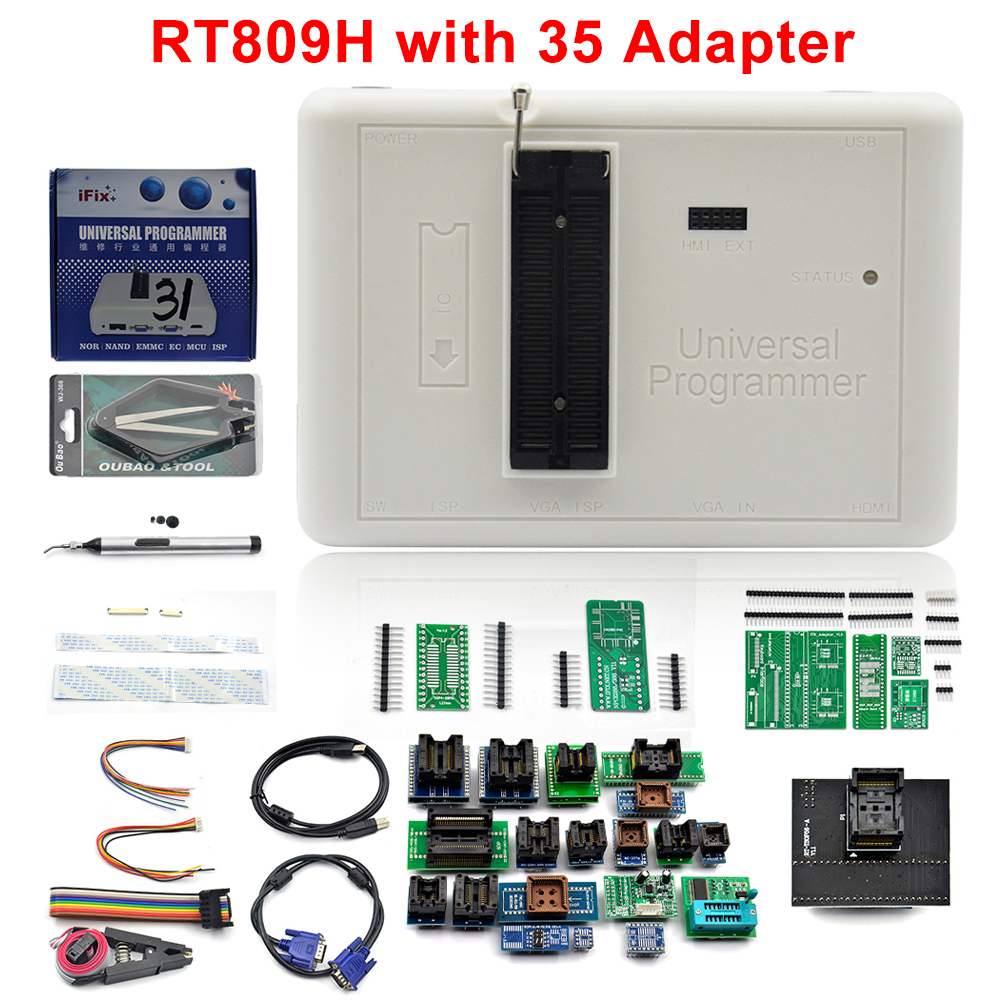 Free Shipping Original RT809H EMMC-Nand FLASH Extremely Fast Universal Programmer + Edid Cable WITH CABELS EMMC-Nand+35 Adapters
