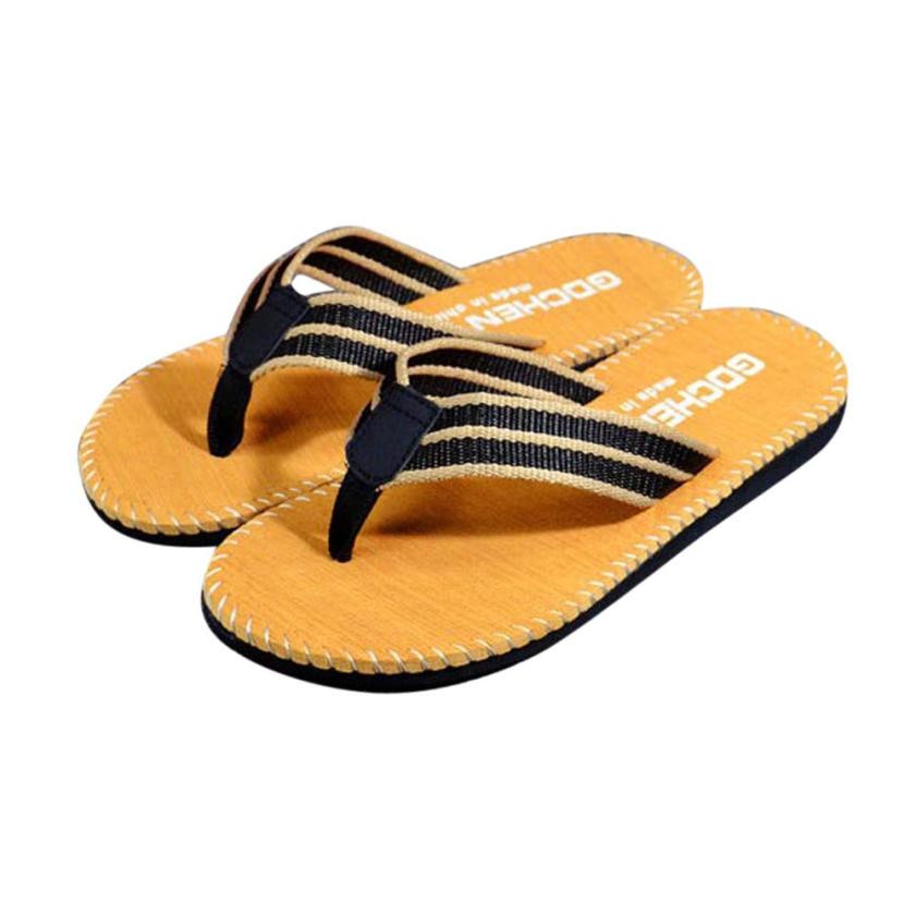 2018 Brand Summer Men slippers Male leather Flip Flops for man vintage Casual Beach Sandals Non-slide Shoes