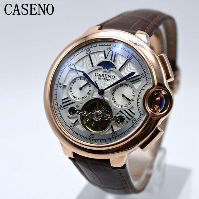 9b73e55cbd8 CASENO Tourbillon Mens Relógio Marca de Topo Relógio da Correia Dos Homens  de Luxo Esqueleto Relógio