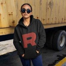 цена на Japanese Letters Hoodie Team Rocket Logo Hoodies Long-sleeve Red Hoodies Women Graphic Cotton Streetwear Pullover Hoodie