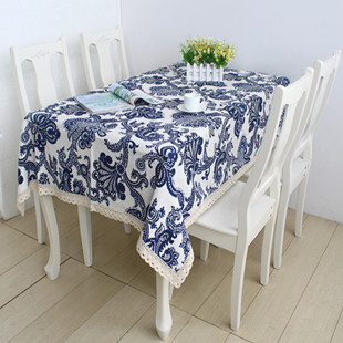 Free shipping New 2014 Zakka blue and white plant printing linen tablecloth table cover Modern Home