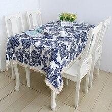Freies verschiffen Neue 2014 Zakka blauen und weißen werk druck leinen tischdecke/tischabdeckung/Modern Home decoration140cm * 220 cm