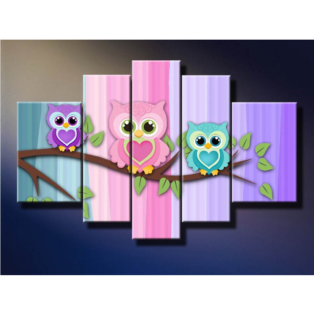 5 panels paintings cute bird little owl picture wall art canvas