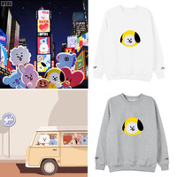 Kpop BTS BT21 Bangtan Boys Album Hoodie Casual Loose Hoodies Clothes Pullover Printed Long Sleeve Sweatshirts