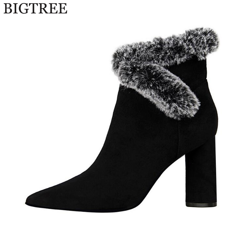 Plus size 30-43 Fashion Bow Women Boots High Heels Ankle Boots Platform Shoes Women Shoes Autumn Winter boots Botas Mujer k364 стоимость